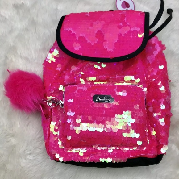 40d7fcd6f889 Justice Mini Backpack Pink Sequin Flamingo Pom Pom NWT